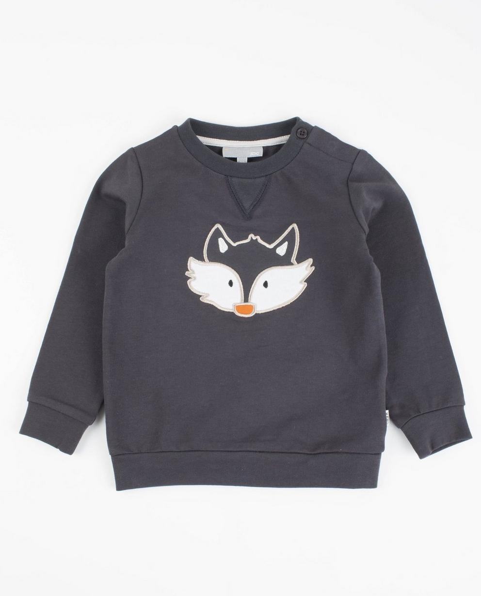 Sweater met patch - in donkergrijs - JBC